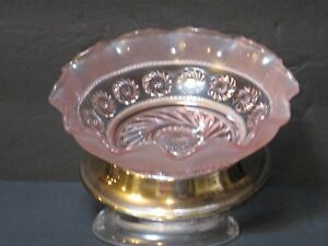FROSTED-FLUTED-EDGE-PINK-GLASS-BOWL-WITH-SILVER-BASE-MADE-IN-ENGLAND-BEAUTIFUL