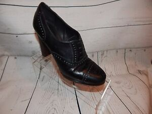 5a1c947292b Details about J Crew Black Leather Bootie Cap Toe Heels Made in Italy  Women's Size 7.5
