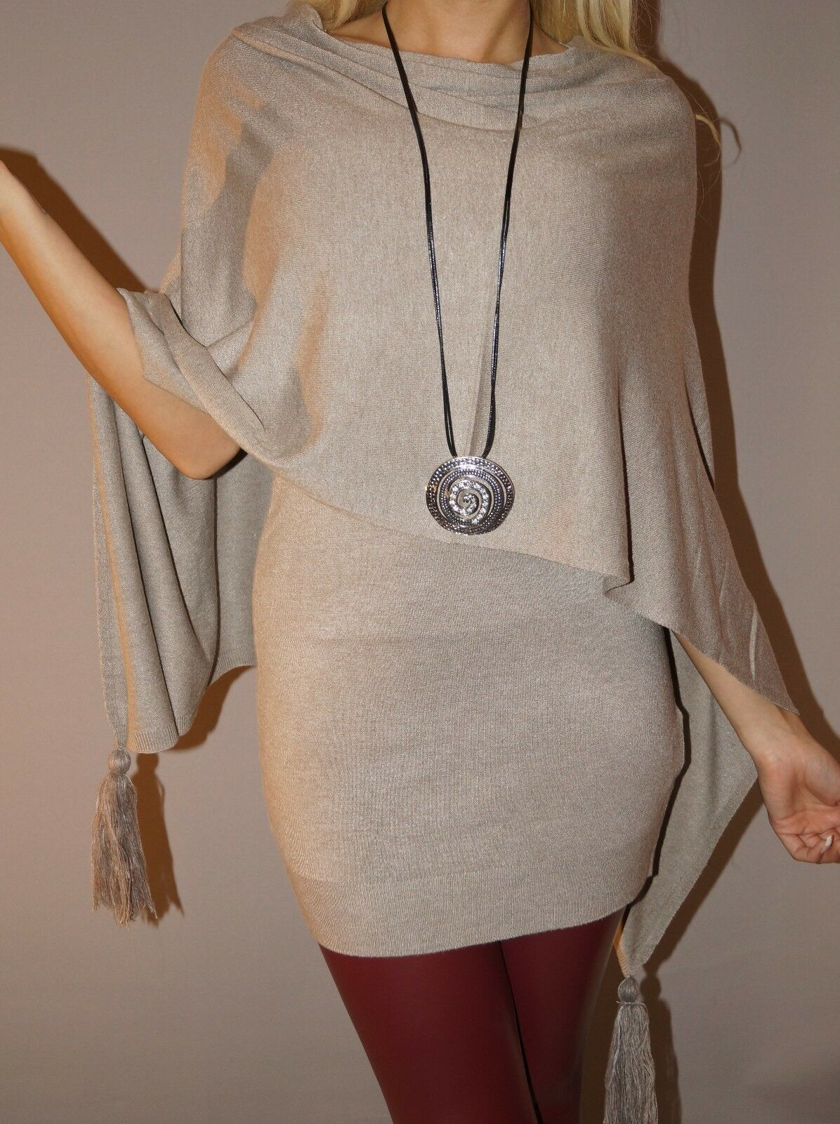NEU Angesagtes Twin Set Strick Long Shirt + Poncho S 34 36 Beige Herbst Trend