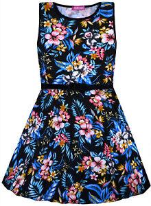 Girls-New-Floral-Skater-Dress-Kids-Summer-Party-Black-Dresses-7-8-9-10-11-12-13Y
