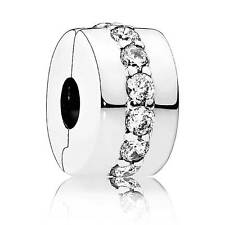 Authentic Pandora Charm Sterling Silver Clip Shining Path 791972CZ