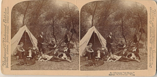 "1894 SV Camping Scene ""An Afternoon 'At Home'"" U&U, Man with Rifle, Dog"