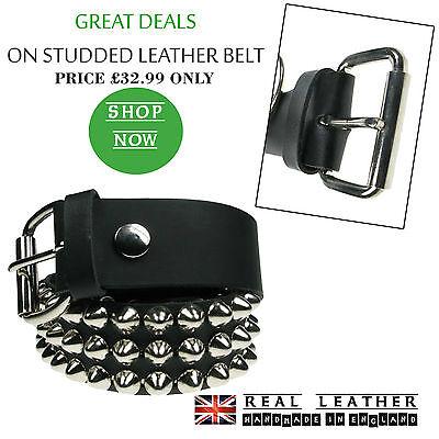 Studded belt Silver metal belt UK Made Gothic leather belt Cattle Skull belt