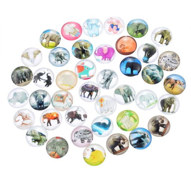 10 Mix Charm Elefant Rund Glascabochons Klebeperlen Klebesteine 12mm