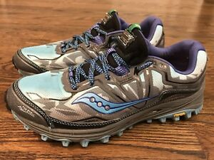 36aa8001e18e SAUCONY Women s Xodus 6.0 Blue Grey Vibram Trail Running Shoes Size ...