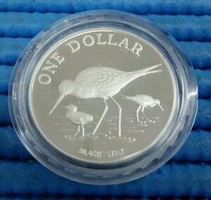 1985-New-Zealand-Black-Stilt-Bird-Silver-Proof-1-Coin-in-original-capsule