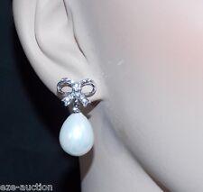 WEDDING BRIDAL SILVER BOW TIE RIBBON W.CLEAR CRYSTAL TEARDROP PEARL EARRINGS