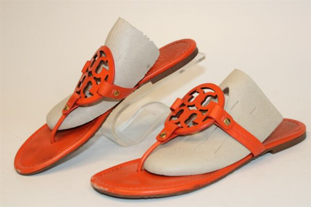 Tory Burch Miller Womens 10 M Orange Leather Thongs Sandals Flats Shoes