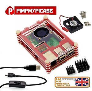 Raspberry-Pi-3-amp-2-B-Kit-de-arranque-caja-Roja-Ventilador-Cable-disipador-de-calor-retropie