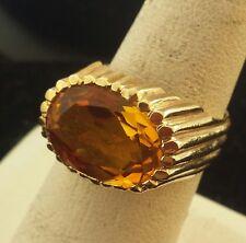 1950s Retro 14k Solid Golden Citrine Solitaire Fluted Mount Ring For Men & Women