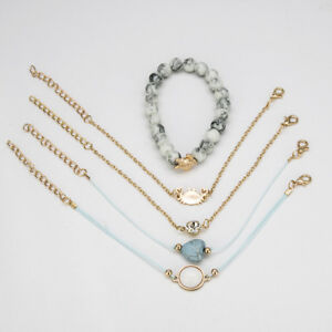 Weave-Rope-Beaded-Beads-Crystal-Stone-Heart-Crab-Bracelets-Jewelry-Bangle-Set