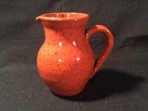 """Genesee Country Village Folk Art Rust Orange 5 1/4"""" Pitcher/Creamer"""