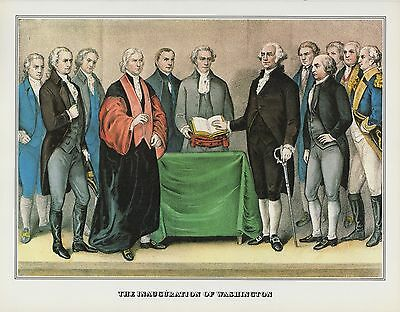 """1978 Vintage /""""THE INAUGURATION OF WASHINGTON/"""" CURRIER /& IVES COLOR Lithograph"""