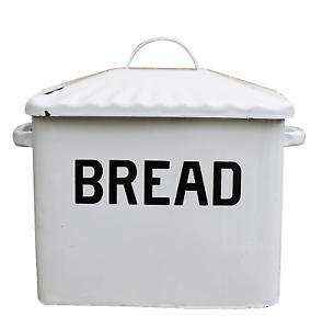 Details About White Vintage Bread Box Keeper Kitchen Storage Bin Enamel Container Retro Large