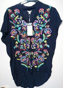 Monsoon-Ella-Top-Embellished-Uk-8-Navy-Blue-Floral-Bnwt
