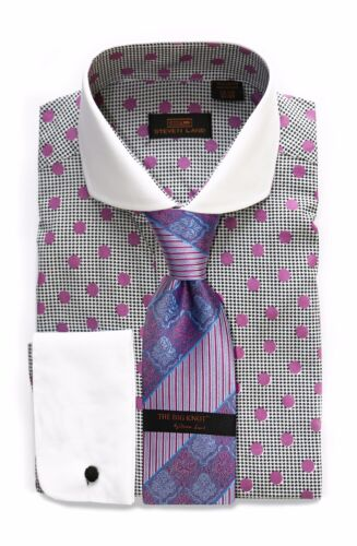 Dress Shirt Only by Steven Land Classic Fit Rounded French Cuff-Purple-DW1600-PU