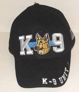 K-9 K9 Unit Police Law Enforcement White Letters Black Embroidered Cap Hat