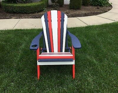 Awesome Folding Adirondack Chair In Poly Lumber Patriotic Red White Blue Made In Usa Ebay Squirreltailoven Fun Painted Chair Ideas Images Squirreltailovenorg