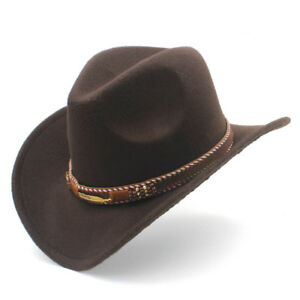 da66c5a54 Details about New Unisex Wool Western Outdoor Cowboy Hat Cowgirl Wide Brim  Casual Jazz Cap ASF
