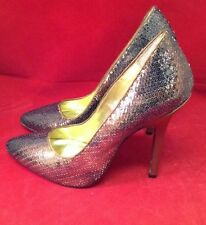 New Martinez Valero Bronze Brown Metallic Sequins High Heels Formal Shoe 5.5 9.5