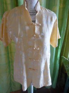 taille 42+44beau chemisier styleasiatique -jaune soyeux -neuf -col MAO 8mHbXSYu-08025046-949062618