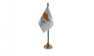 """Cyprus 6/"""" x 4/"""" Desk Table Flag with Gold Plastic Cone Base"""