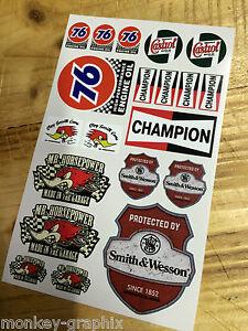 20tlg Rc 1 18 Modell Oldschool Aufkleber Set Sticker Us Cars 76