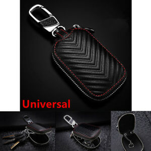 Black-Leather-Car-Key-Protector-Cover-Holder-Key-Fob-Case-Bag-Universal-For-Cars