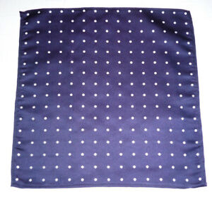 FY05 Silk Blue with White Polka Dot Men Pocket Square Hanky Party Handkerchief