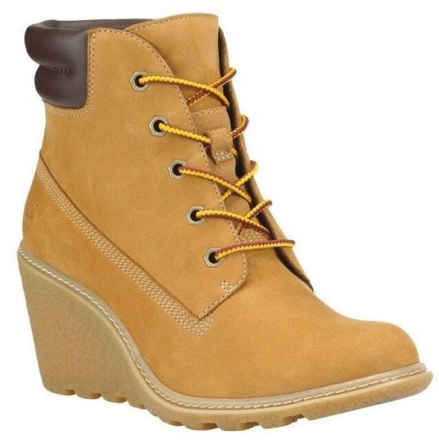 69456623f243 Timberland Womens Amston 6 Inch Leather Nubuck Wedge Heel BOOTS ...