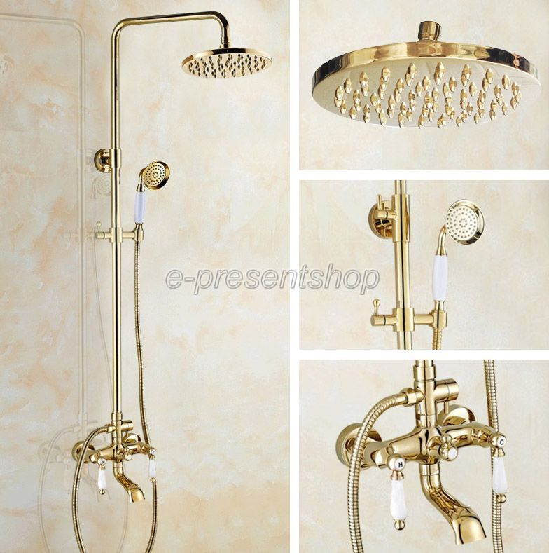 Poli or laiton mural douche de pluie Robinet Set avec baignoire mitigeur Bgf372
