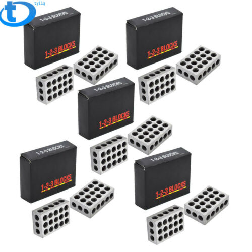 """5 MATCHED PAIRS ULTRA PRECISION 1-2-3 BLOCKS 23 HOLES .0001/"""" MACHINIST 123"""