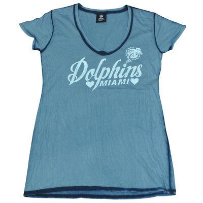 Temperamentvoll Nfl Miami Dolphins Flossen Dw3163 Damen Naht Waschen V-ausschnitt T-shirt Baseball & Softball Weitere Ballsportarten