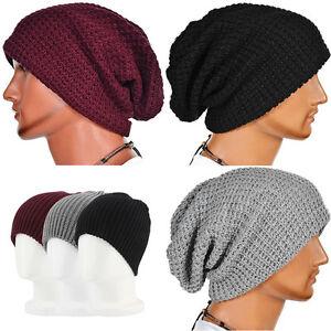 798328af995 Mens Women Winter Warm Slouch Oversize Hat Knit Ski Beanie Crochet ...