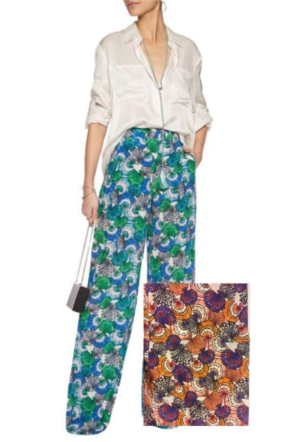 NWT EMILIO PUCCI Women's US 12 IT 48 Printed Silk Wide-Leg Pants Multi  990