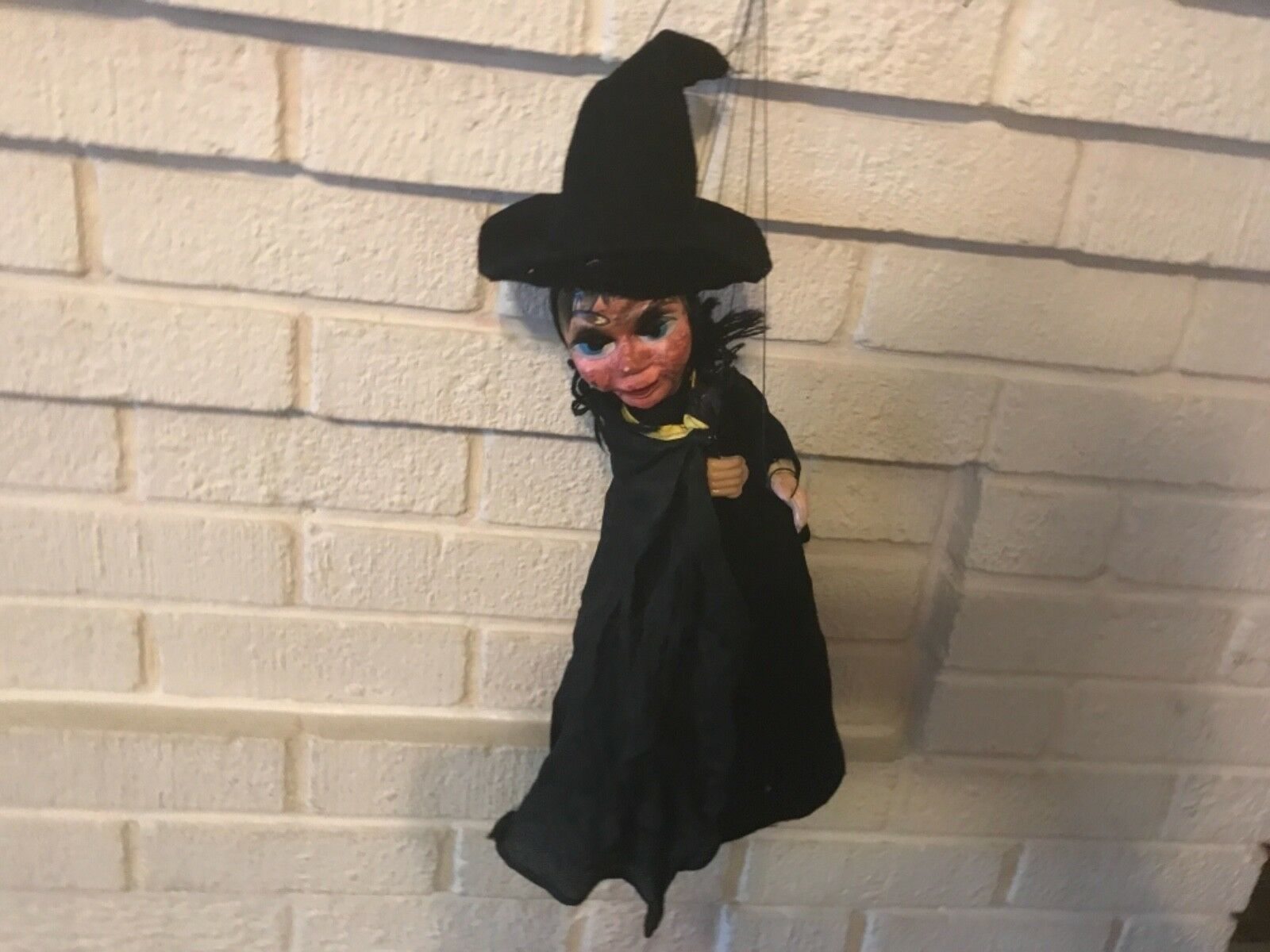 Vintage Hand Made Witch Marionette Puppet