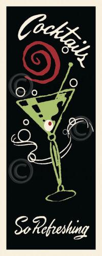 MARTINI BAR ART PRINT Cocktails So Refreshing Vintage Olive Glass Poster 20x8