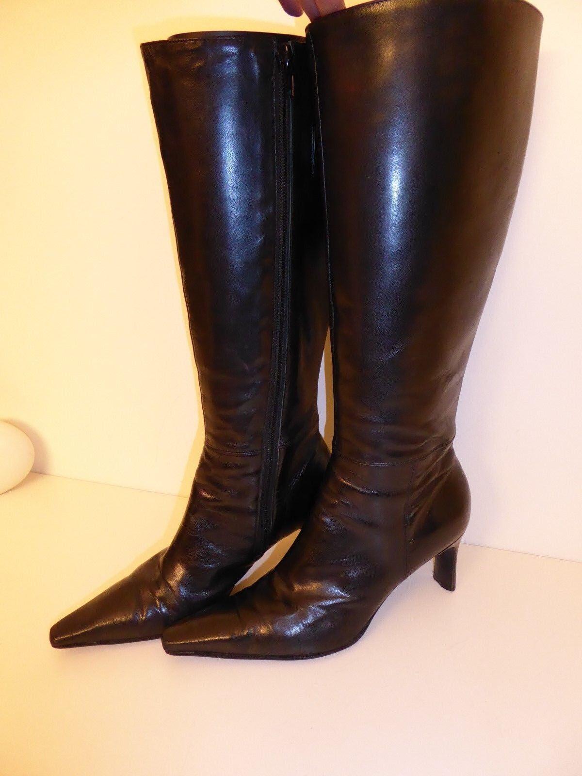 Brasilianische Stiefel Gr. Spitz Echtleder schwarz elegant sexy Gr. Stiefel 37 NP 139 dc32c0