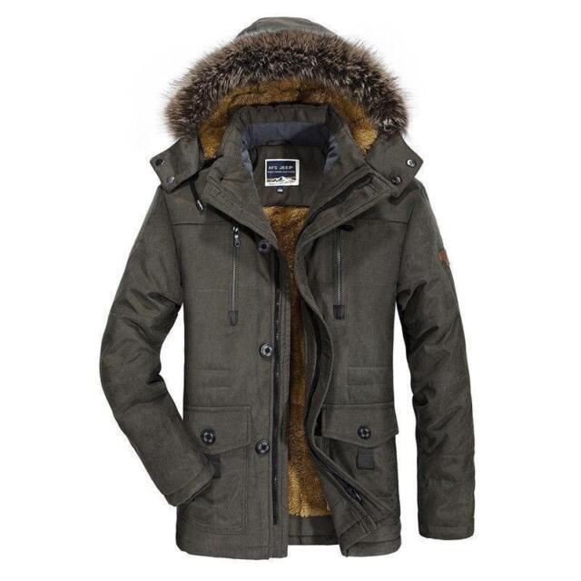 Mens Winter Snow Jacket Hooded Fur Collar Thicken Warm Outwear Parka Coat S-6XL