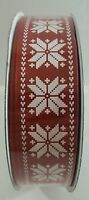 Kirkland Signature Wire Edged Snowflake Ribbon Red 50 Yards 1.5 Inches