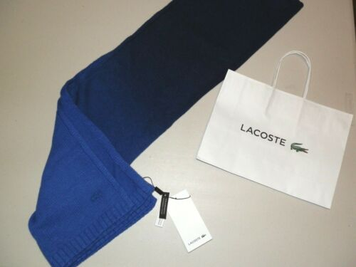 NEW WITH TAGS /& GIFT BAG LACOSTE BLUE CASHMERE WOOL DESIGNER SCARF CROC LOGO