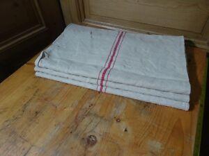 Antique European Feed Sack GRAIN SACK Red Stripe # 10407