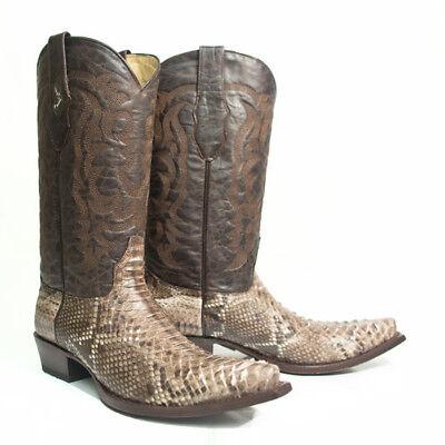 Los Altos NATURAL Genuine PYTHON SNAKE Western Cowboy Boot Square Toe EE+