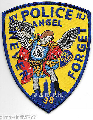 """shoulder police patch Tribute Angel/"""" 4/"""" x 5/"""" size NY//NJ  /""""Never Forget"""