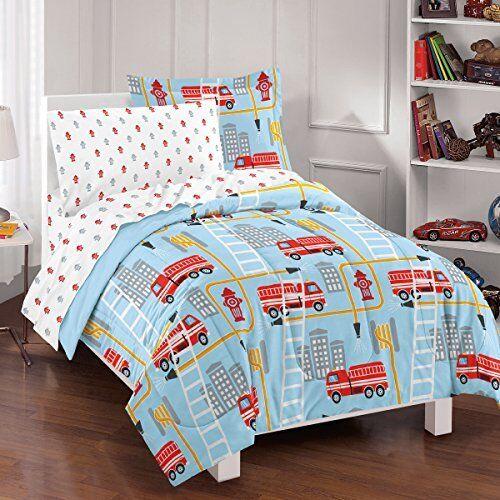 NEW Dream Factory Fire Truck Ultra Soft Microfiber Comforter Set Twin Blue