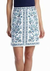 Sophie Max Studio 5B04W18 Ivory//Turquoise Print Stretch Jersey Pencil Skirt $58