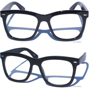 Big Frame Glasses Hipster : BIG OVERSIZE BOLD BLACK FRAME FRONT Horn Rimmed CLEAR LENS ...