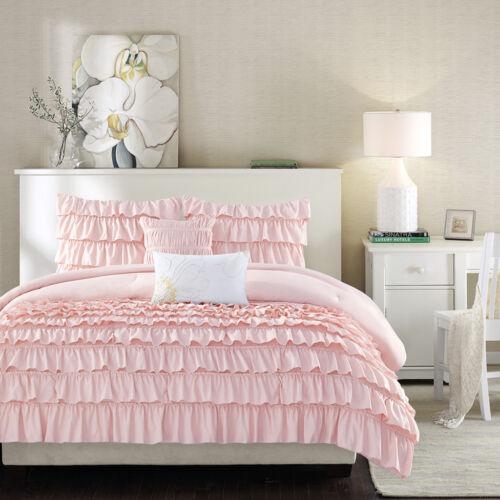 Lovely Teens Pink Chic Ruffles 5 pcs Comforter Shams Pillow Full Queen Set