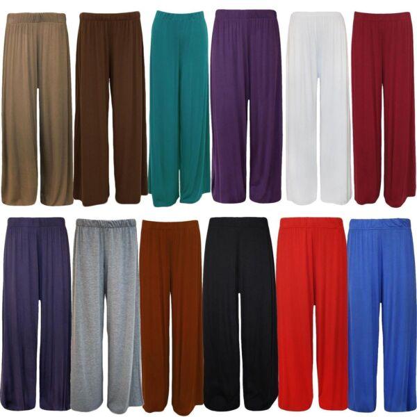 2019 Ultimo Disegno Nuova Linea Donna Plus Size Plain Gamba Larga Svasato Donna Pantaloni Pants 16-26 * Palazzo