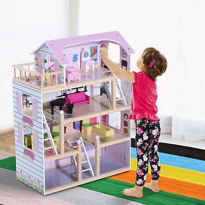 HOMCOM Juguete Madera Casa de Muñecas con Muebles Mobiliario Casita Muñeca Rosa